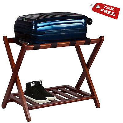 Wood Suitcase Holder Stand Travel Bag Storage Folding Luggage Rack With Shelf