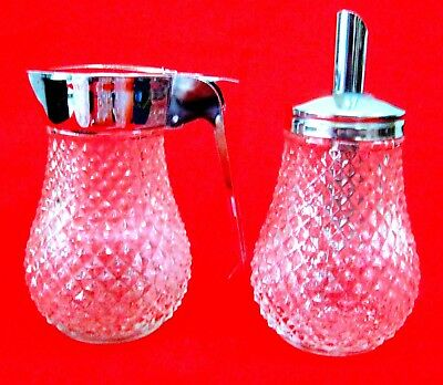 VINTAGE SUGAR SHAKER & SYRUP PITCHER PRESSED GLASS w/ STAINLESS TOPS HONG KONG
