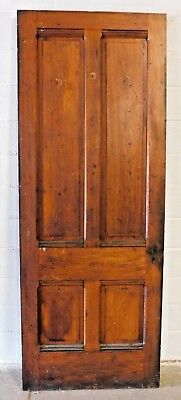 Antique 1800's Wooden ENTRY DOOR Raised Panel VICTORIAN Style Butternut ORNATE