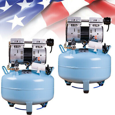 2* Dental Noiseless Oil Free Oilless Air Compressor 130L/min for 1PC Chair+Gift