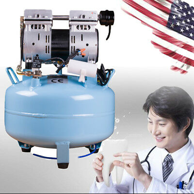 Dental Noiseless Oil Free Oilless Air Compressor 550W 130L/min for 1PC Chair USA
