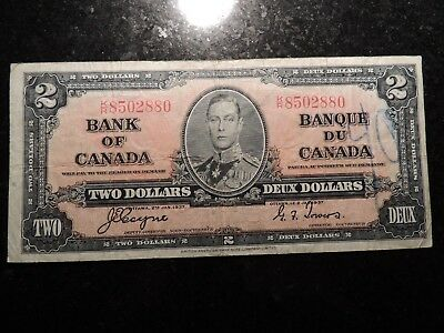 1937 BANK OF CANADA $ 2 TWO DOLLARS BC-22c COYNE TOWERS K/R 8502880
