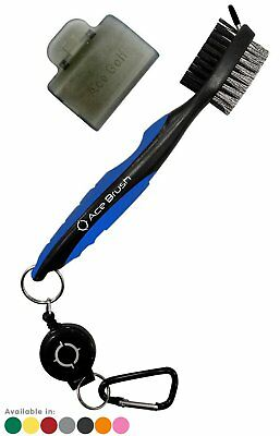 Golf Brush and Club Groove Cleaner By Ace Golf in Blue, 2 Ft Cord, Brush Cover