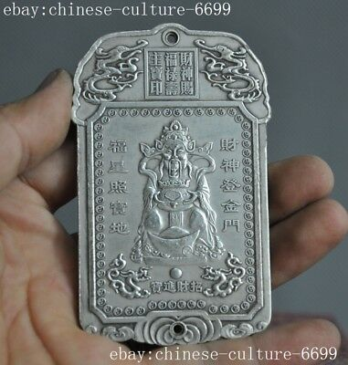 old China Tibet silver wealth God statue Jambhala statue Pendant Amulet periapt