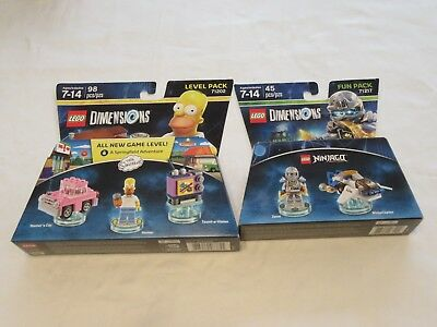 NEW Lego Dimensions Toys 2pc LEVEL PACK SIMPSONS 71202 & NINJAGO FUN PAC 71217