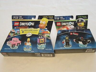 NEW Lego Dimensions Toys 2pc SIMPSONS LEVEL PACK 71202 & LEGO MOVIE FUN PK 71213