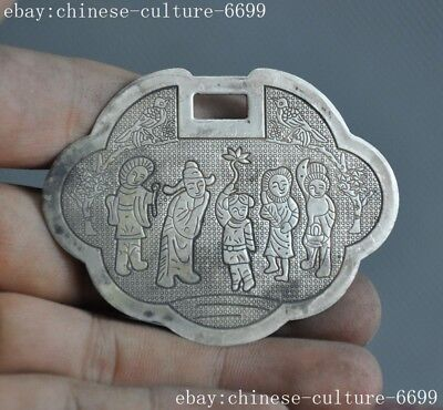 China Tibet silver carving Ancient people bird tree Text Amulet periapt Pendant