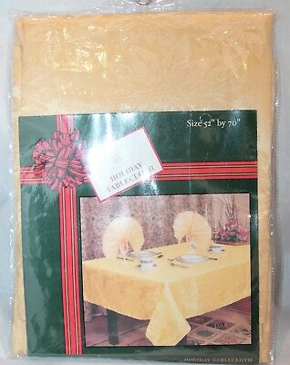 NOS Sultan's Linens Fabric TABLECLOTH Holiday Gold Mustard 52 x 70