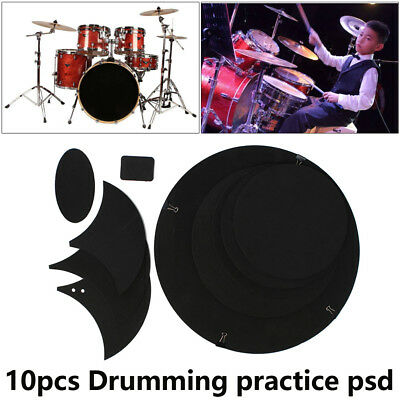10 x Bass Snare Drums Mute Silencer Drumming Practice Pad Set Soundoff Music