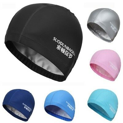 Swimming Cap Elastic Waterproof PU Fabric Protect Ears Long Hair Sports Swim hat