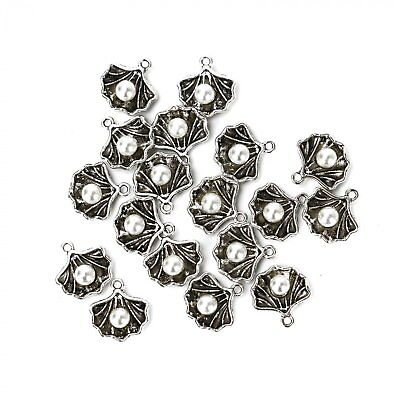 10Pcs Antique Silver Plated Simulated Pearl Shell Charms For Jewelry making UK