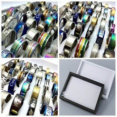 With Box 100pcs Stainless Steel rings Wholesale Men Women Band Fashion Jewelry