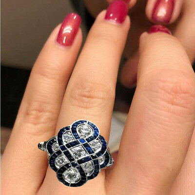 Art Deco Women Wedding Engagement Ring White Sapphire Silver Jewelry Party Gift
