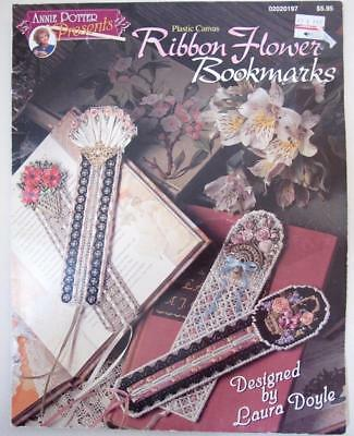 Plastic Canvas Ribbon Flower Bookmarks Pattern Booklet 8 Designs Annie Potter