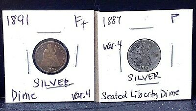 Lot of 2 1887 & 1891 10c Seated Liberty SILVER Dime coins Var. 4