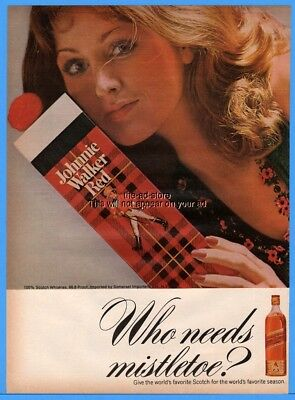 1973 Johnnie Walker Red Label Scotch whisky Who Needs Mistletoe Christmas Ad