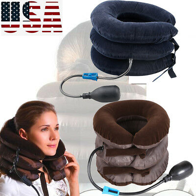 NEW Neck Massager Brace Support Cervical Collar Air Traction Therapy Device USA