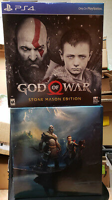 "God of War 9"" Kratos & Atreus STATUE and BOX ONLY Collectors Stone Mason Edition"