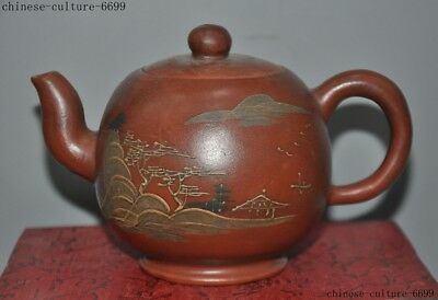 Old Chinese Yixing zisha pottery carving scenery calligraphy teapot pot Tea make