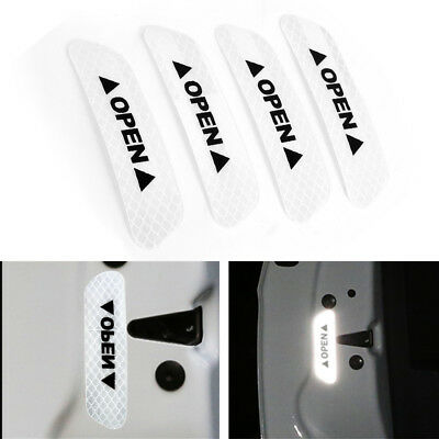 4x Super White Car Door Open Sticker Reflective Tape Safety Warning Decal Hot