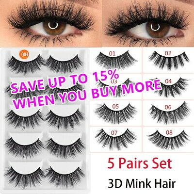 5 Pairs Beauty Mink Fake Eyelashes 3D Natural False Lashes Makeup SKONHED