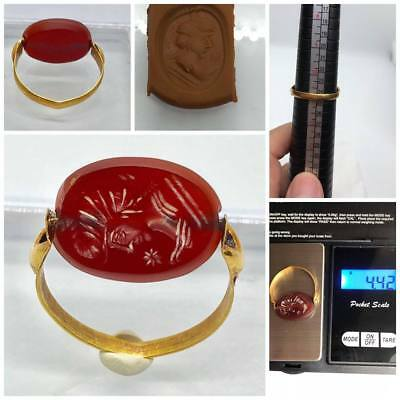 4.42g Ancient Roman EMPRIE Seal RED Agate stone 22k Gold Rare magic Ring Gift