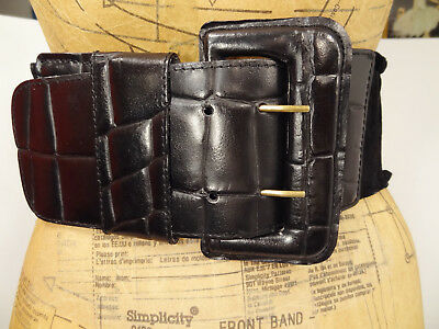 Vtg 80s Express Italy Ultra-Wide Leather Croc-Embossed Ruffled-Suede Belt-M