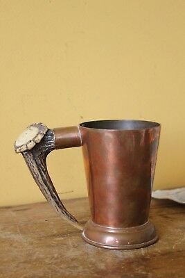 Vintage Copper Deer antler mug.