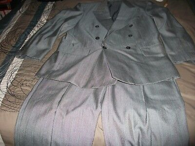 Vintage 1940's Style Double-Breasted Pinstripe Suit