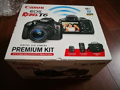 New Canon Rebel T6 18-55mm and 75-300mm Lens Bag Premium Kit 64GB Sony SDXC