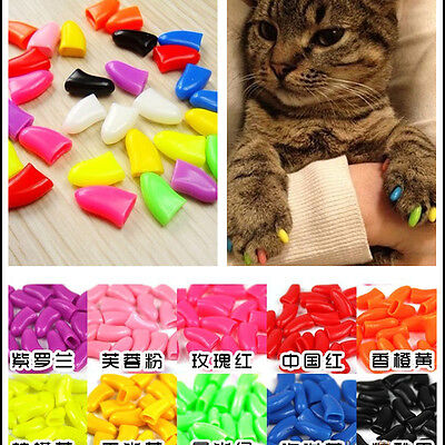 20Pcs 3Size Simple Cozy Rubber Pet Dog Cat Paw Claw Control Nail Caps Cover Cute