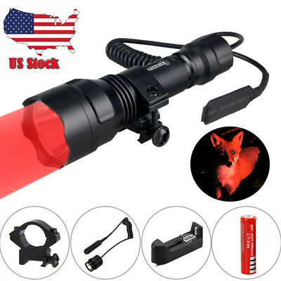 Tactical 350 Yards Red LED Hog Coyote Fox Rifle Mount Hunting Flashlight Light