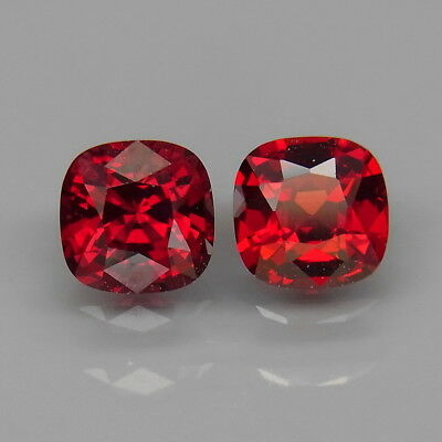 Cushion 5x5 mm.PAIR! Best Color Top Noble Red Spinel MaeSai,Thailand 1.36Ct.
