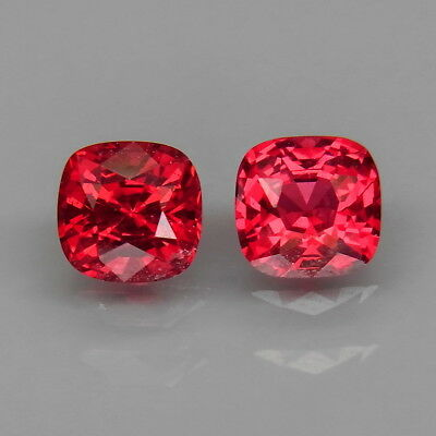 Cushion 5x5 mm.PAIR! Very Good Color Natural Red Spinel MaeSai,Thailand 1.37Ct.