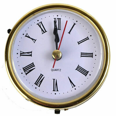 "2-1/2"" (65mm) Clock Quartz Movement Insert Numeral White Face Gold Trim US"