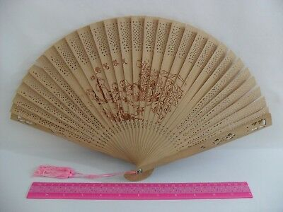 Asian Wood Hand Held Peacock Fan Birds Flowers - Retro Vintage - Free Shipping