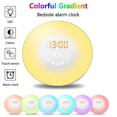 Wake up LED Light Sunrise Alarm Clock w/ FM Radio Bedside Sounds Night Lamp