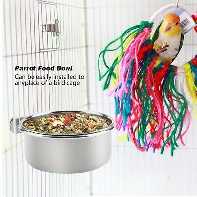 Parrot Cockatiel Cage Bowls Water Food Cup Stainless Steel Water Feeding Bowl