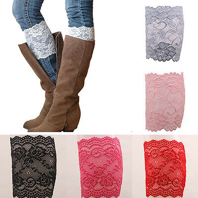 Stylish 7 Colors Stretch Lace Flower Leg Warmers Trim Toppers Boot Socks Cuffs