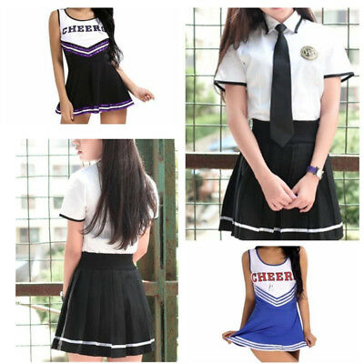 Women Sexy Musical Cheerleader Costume School Girl Student Cosplay Uniform Dress