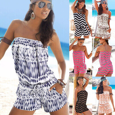 Womens Beach Wear Bikini Cover Up Playsuit Holiday Strapless Mini Jumpsuit Dress