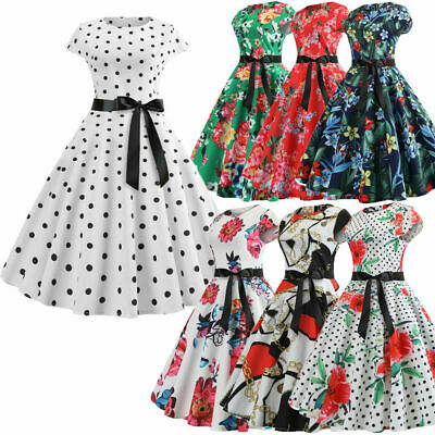 a830390ed06 UK Women s Vintage 1950s Polka Dot Rockabilly Evening Prom Swing Dress Size  6-16