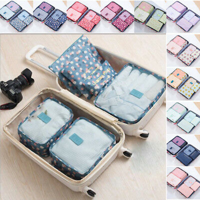 Six Pieces Set Luggage Organiser Suitcase Storage Bags Packing Travel Cubes NEW