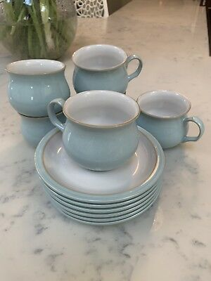 Set Of Six DENBY Colonial Blue Tea Cups And Saucers
