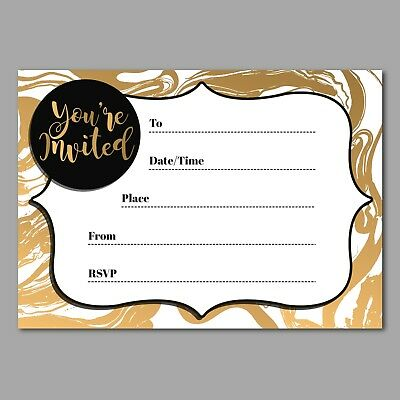 Black Gold Party Invitations 16 A6 Cards Party