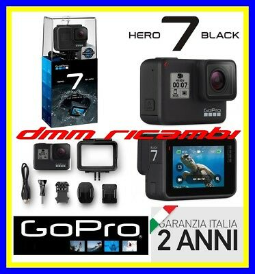 Action Cam GOPRO HERO7 Black LCD TOUCH WiFi GPS 4K 240Fps HERO 7 Garanzia Italia