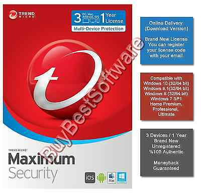 Trend Micro Maximum Security | 3 Device | 1 Year | Brand New | Online Delivery