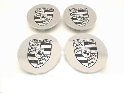 Set Of New Genuine Porsche 997 Turbo Shadow Chrome Alloy Wheel Centre Caps