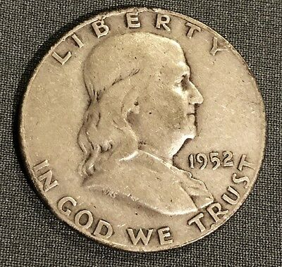 1952 D Franklin Half Dollar Coin circulated from 25.3 mil mint DENVER 90% SILVER