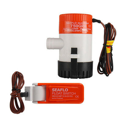 SEAFLO 12v 750GPH SUBMERSIBLE MARINE BILGE PUMP with AUTO FLOAT SWITCH rohs iso